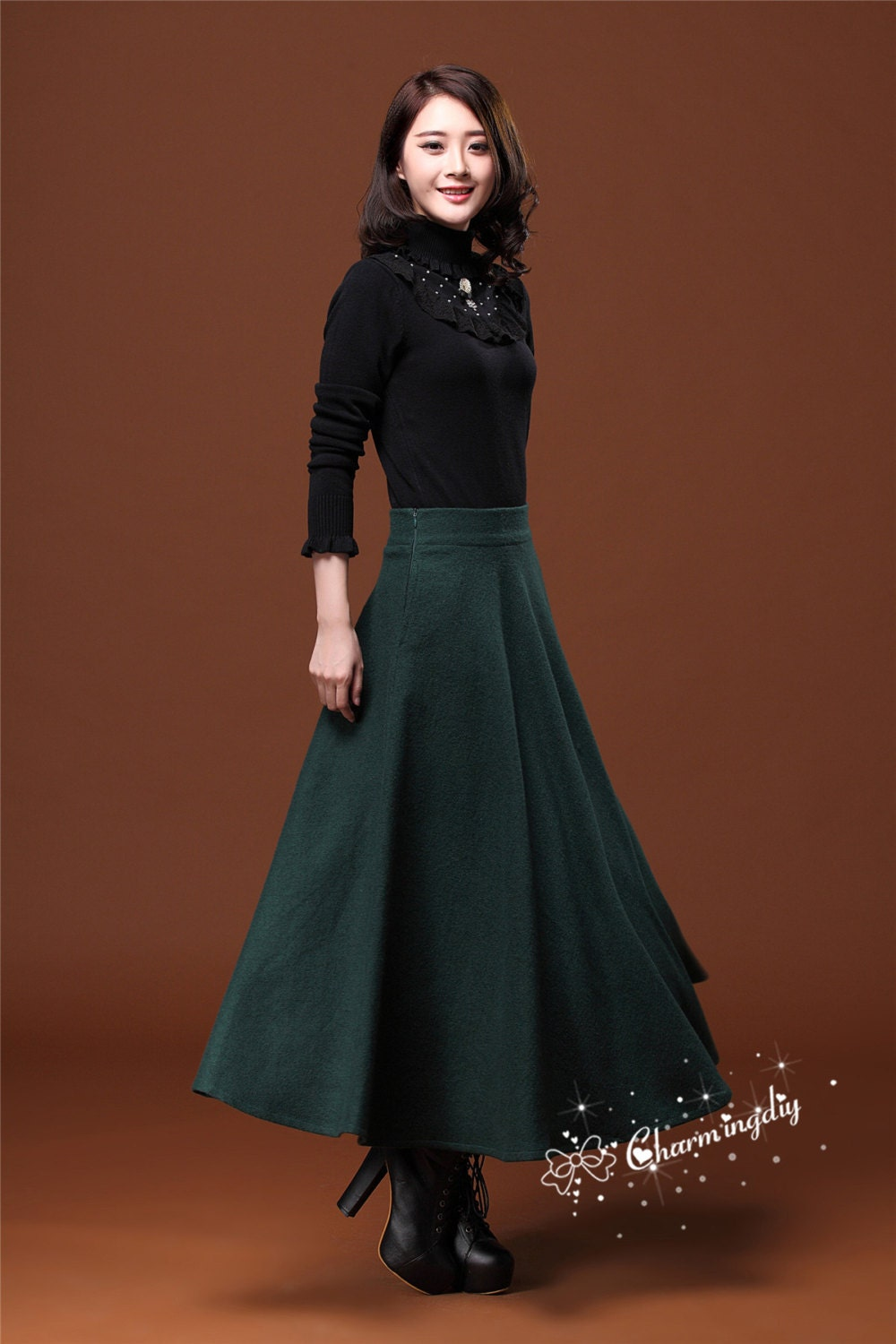 7 Colors Autumn Dark Green Wool Skirt Long Woolen Wool Party