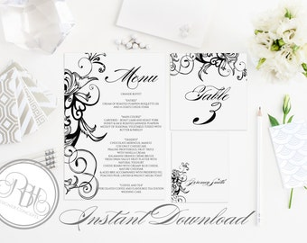 """Black & White Table Number, Place Card, Menu INSTANT DOWNLOAD-DIY Editable Text-Elegant Black Floral Swirl """"Helen Table Package"""""""