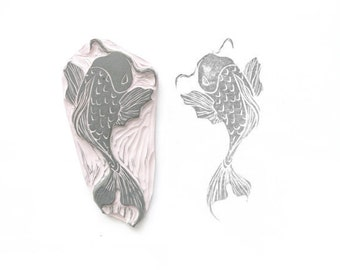 Large Koi Fish II Rubber Stamp | 021116