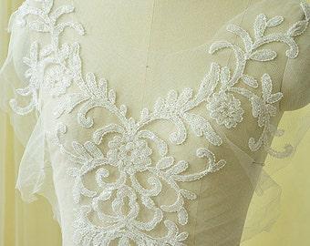 Wedding Lace Applique,  Beaded Lace Applique, Lace Motif, Wedding Dress Trim, Wedding Accessory DIY, Beaded Lace Applique, 1 Piece