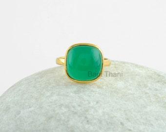 Onyx Ring, Silver Ring, Green Onyx Ring, Gemstone Ring, 12mm Cushion Ring, 925 sterling silver ring - #1161