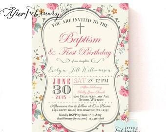 Floral Baptism 1st Birthday Invitation Girl Christening , Naming Day , 1st Holy Communion, Dedication Invite /Printable No.276BAPTISM