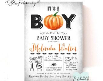 Halloween Baby Shower Invitation Little Pumpkin Baby Shower Invites Fall Baby Shower Invitation // Printable No.1046BOY