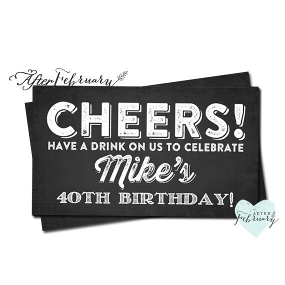 Chaldboard Drink Tickets // Any Event // Birthday Party