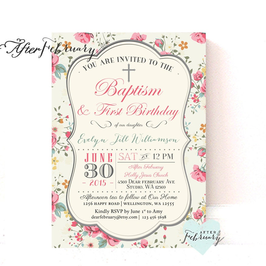 First Birthday And Baptism Invitations 1st Birthday And: Floral Baptism 1st Birthday Invitation Girl Christening