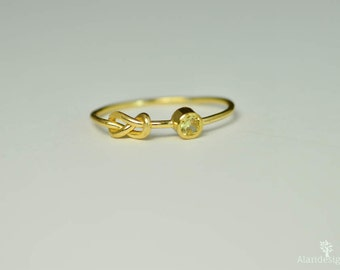 14k Gold Topaz Infinity Ring, 14k Gold Ring, Stackable Rings, Mother's Ring, November Birthstone Ring, Gold Infinity Ring, Gold Knot Ring