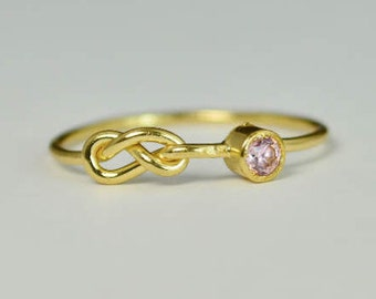 14k Gold Pink Tourmaline Infinity Ring, 14k Gold Ring, Stackable Rings, Mother's Ring, October Birthstone Ring, Gold Infinity Ring