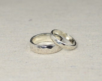 Hammered Silver Wedding Bands, Rustic Wedding Rings, Wedding Ring Set, Sterling  Silver,