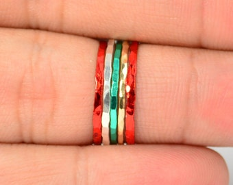 Set of 5 Super Thin Christmas Inspired, Christmas Rings, Christmas Jewelry, Christmas Fashion, Holiday Rings, Holiday Jewelry