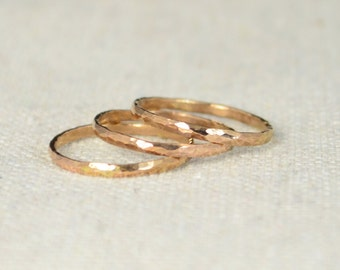 Classic Rose Gold Stackable Ring(s) 14k Rose Gold Filled, Stacking Rings, Stack Rings, Simple Gold Ring, Hammered Gold Rings, Rose Gold Band