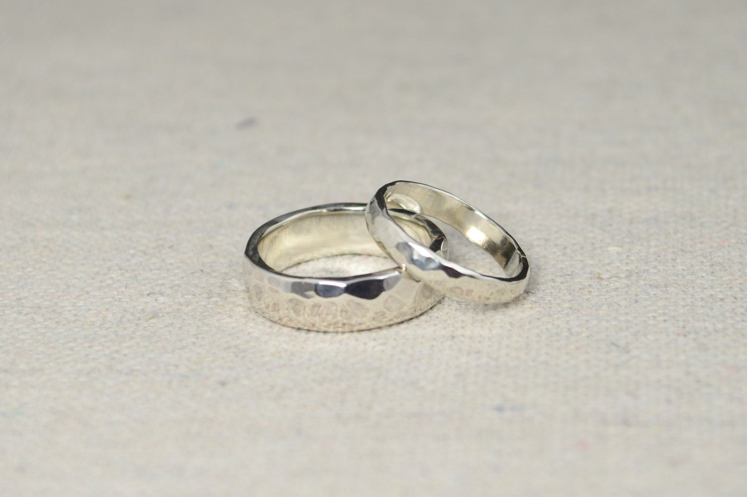 Hammered Silver Wedding Bands Rustic Rings Ring Set Sterling Inside Engraving Included Inexpensive
