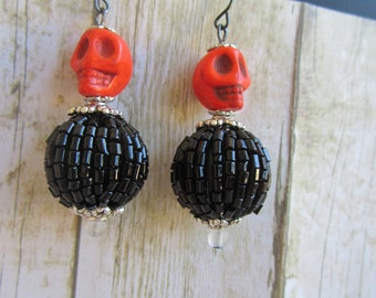 Orange Skull Earrings, Halloween Earrings, Skull Earrings, Halloween Jewelry, Skull Jewelry, Black Earrings, Orange Earrings,Skull Accessory