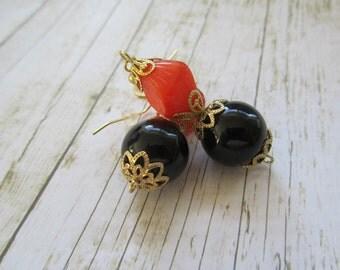 Orange and Black Earrings, Halloween Earrings, Halloween Jewelry, Halloween Accessory, Black Earrings, Orange Earrings, Fall Earrings
