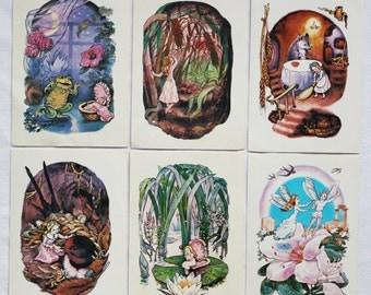 Thumbelina. Hans Christian Andersen. Set of 6 Vintage Soviet Postcards - 1984. Illustrator Malova. Mystetstvo, Kiev. Fairy tale