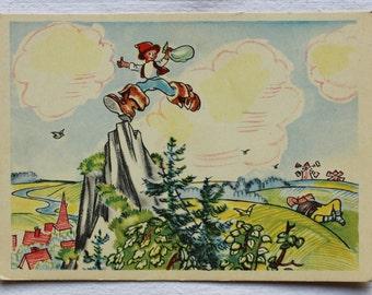 "Illustrator Goltz Vintage Soviet Postcard ""Hop o' My Thumb"" Charles Perrault - 1958. Izogiz Publ. Fairy tale"