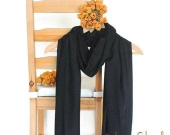 Black Shawl, Wedding Shawl, Solid Color Scarf, Black Pashmina, Bridesmaid Shawl, Bridesmaid Gift, Soft Lightweight