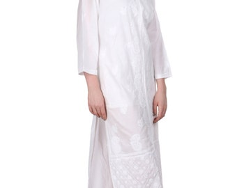 Ladies tops Indian Lucknow White  ethnic Chikankari Hand Embroidery kurta/Kurtis/Top/Tunic  wear women/ladies/girls Plus Size also available