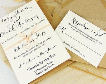 Custom Wedding Invitation Set, Elegant Wedding Invitation, Modern Wedding Invitation, Rustic Wedding Invitation, Calligraphy Invitation