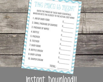 Price is Right Baby Shower Game - Snowflake Price is Right - Winter Baby Shower Games - Blue Chevron 207