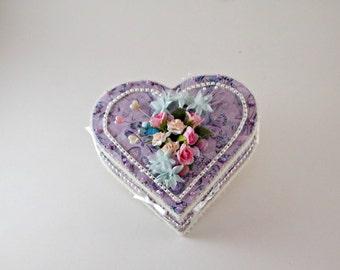 Purple Heart Jewelry Box, Wooden Jewelry Box, Trinket Box, Wooden Trinket Box, Altered Box, Gift Box, Jewelry Box, Purpple Jewelry Box