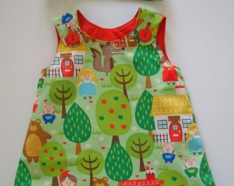 Girls Fall dress, Little Red Riding Hood, Nursery Rhymes, Girls clothing, aline, pinafore, 100% cotton, girl, baby, toddler, size NB to 8Y