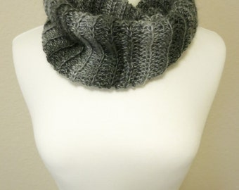 Crochet Cowl in Gray Ombre