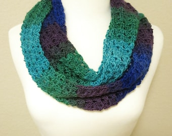 Crochet Infinity Scarf in Blue and Green