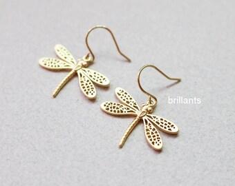 Dragonfly earrings in gold, Insect earrings, Simple earrings, Bridesmaid earrings, Everyday earrings, Wedding earrings