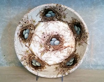 Decorative Bowl Featuring Bird Nest & Blue Eggs on Wood OOAK