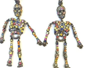 Skelton Full Body Multi Color Sapphire Pendant, Skelton in Craft Supplies, Skeleton Jewelry, Gemstone, Skeleton Pendant, Skeleton Necklace