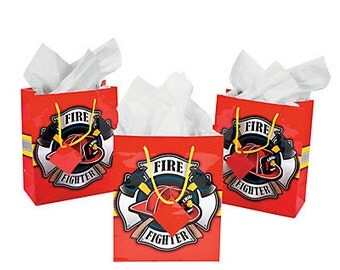 12/ Chief Firefighter Favor bags  /Firefighter theme party