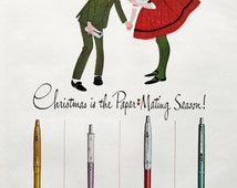 1963 Paper Mate Pen Ad - Christmas is the Paper Mating Season!  1960s Boy & Girl Kiss - Winnie Fitch Art - Retro Wall Art Print