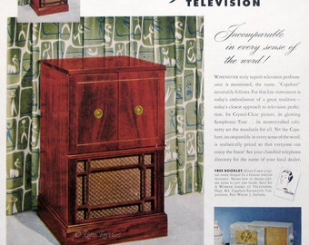 1951 Capehart Charlestown Television Ad   TV Cabinet Design   1950s Vintage  Electronics   Retro Home