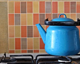Vintage Soviiet Blue Kettle, Blue Kettle, Enamel  Kettle, Retro metal kettle, Vintage Kitchen Decor