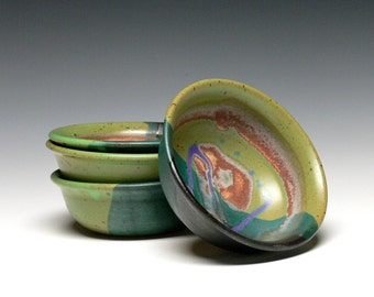 Pottery Prep Bowls - Set of 4 , Yogurt Bowls, Hand Thrown Ice Cream Bowls, Stoneware Dip Bowls