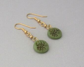 Olive Green Earrings, Green Dangle Earrings, Damask Earrings, Polymer Clay Faux Jade, Gold Plated Round Drop Earrings, Moss Green Jewelry