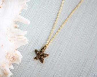 Antique gold starfish necklace - starfish charm necklace - detailed starfish pendant - starfish jewelry - ocean jewelry - ocean necklace B1