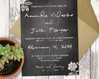 Premade Wedding Invitation - Printable - Chalkboard - Script Text - Personalized - 5x7