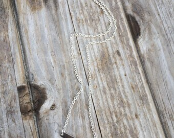 Simple Bar Necklace, Silver Bar Necklace, Delicate Necklace