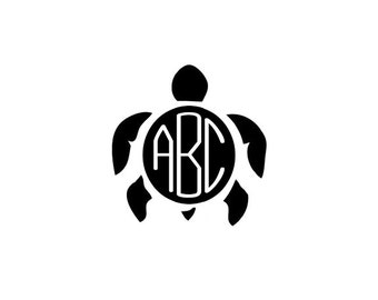 Turtle Monogram SVG, DXF Files for Cricut Design Space, Silhouette Studio, Die Cut Machines, Instant Download of svg, dxf, & jpg