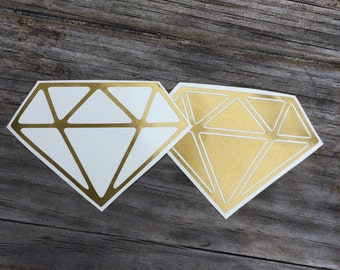 Diamond Vinyl Decals in Gold, diamond Vinyl Stickers, diamond Laptop Decal, Car Sticker, Vinyl Design, Stickers, diamond stickers