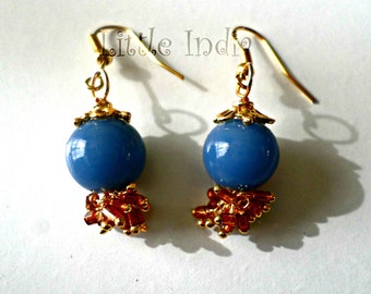 "Ethnic inspired blue and gold ""Channa"" earrings"