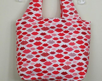 Large tote bag - Kisses on the outside psychedelic on the inside