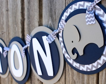 Elephant Baby Shower Banner in Navy and Gray Chevron - Chevron Baby Shower - It's a Boy Banner or Name Banner