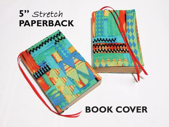 Removable Fabric Book Cover : Stretch paperback book cover triangles fabric by