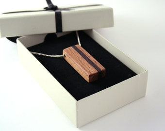 Wood Necklace - Wooden Geometric Necklace - Wood Jewelry