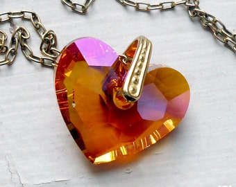 Swarovski Crystal Heart Necklace, Astral Pink and Orange Crystal Heart Necklace, Gifts for Her, Valentine's Day Gift, 18-Inch Gold Chain
