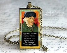 Van Gogh Quote Necklace, Van Gogh Self Portrait Pendant, Art Jewelry, Famous Artist Jewelry, Photo image Pendant, Gift for Artist