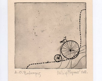 Original etching small size print Bicycle