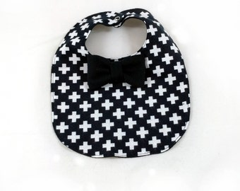 Cross Baby Bib - Bowtie Bib - Monochrome Baby Bib - Dribble Bib - First Birthday Gift - Unique Baby Shower Gift - Hipster Baby Bib